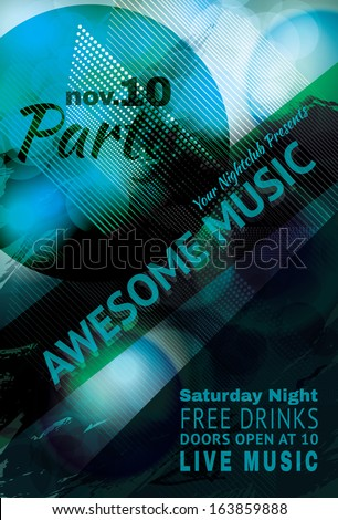 Blue funky Abstract music light effect club flyer - stock vector