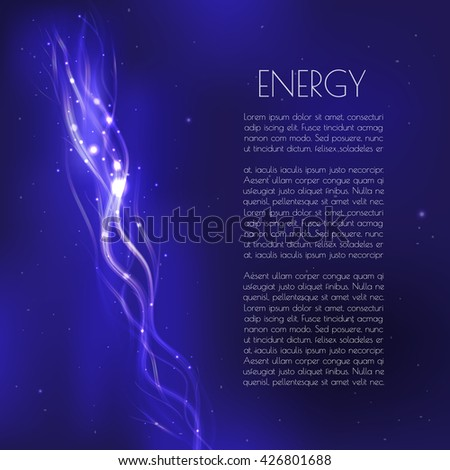 Blue futuristic background with light neon curves and glowing stars. Place for your text. - stock vector