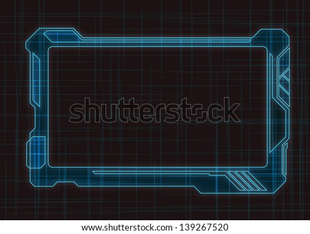 Blue Futuristic Screen Tablet Device - stock vector