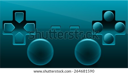 Blue Gamepad Controller - stock vector