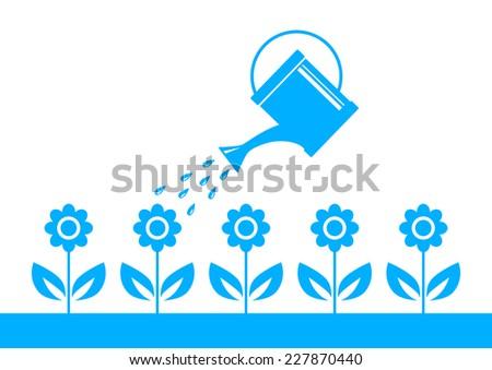 Blue garden icon  - stock vector