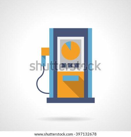 Blue gas station pump with round yellow dial. Automobile refilling services. Oil industry. Flat color style single vector icon. Element for web design and mobile. - stock vector