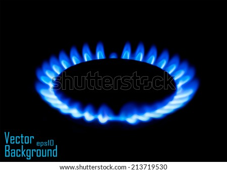 Blue gas stove in the dark - Vector - stock vector
