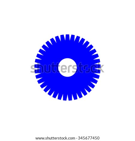 blue gear wheel on white background outbox - stock vector