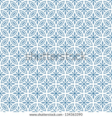 Blue Geometric Seamless Vector Pattern - stock vector
