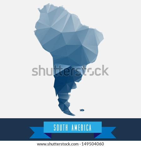 blue geometrical stylized south america map - stock vector
