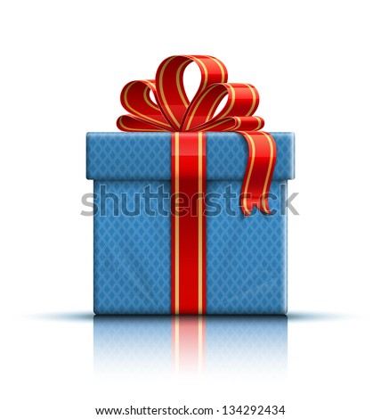 Blue gift box with a red ribbon and a bow. Vector illustration - stock vector