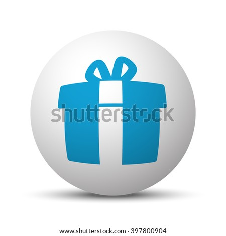 Blue Gift  icon on sphere on white background - stock vector