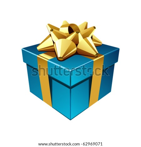 Blue gift with gold bow vector illustration. Eps 10 - stock vector