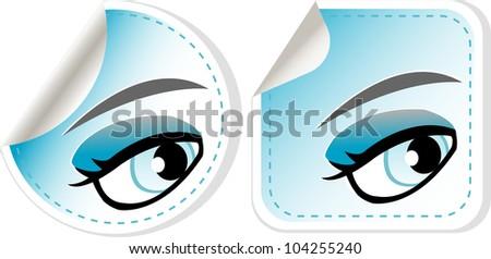 blue girl eyes sticker set. vector abstract label - stock vector