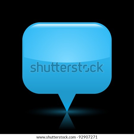 Blue glassy empty map pin button web icon. Rounded rectangle shape with glowing shadow and color reflection on black background. This vector illustration saved in file eps 8 - stock vector