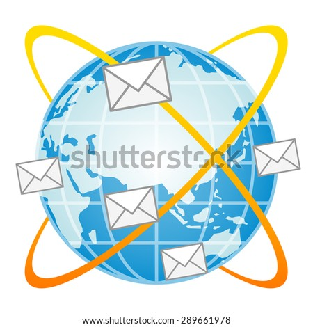 blue globe and e-mail on a white background  - stock vector
