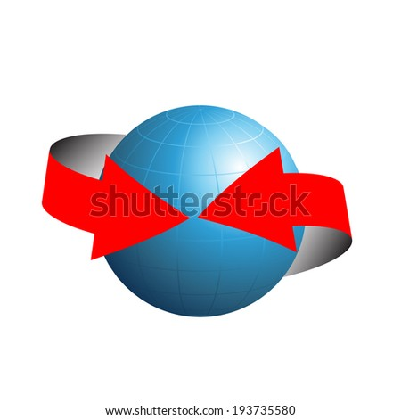 blue globe and red arrow