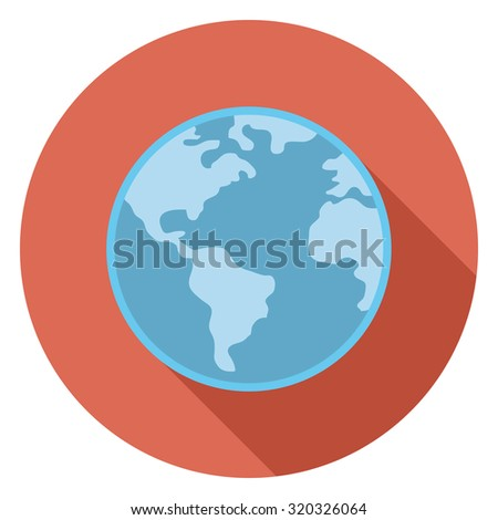 blue globe flat icon in circle - stock vector