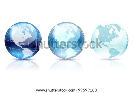 Blue globe set with shadow and reflection on white, vector illustration, eps 10