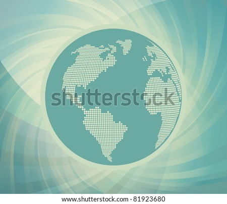 Blue globe vintage vector background - stock vector
