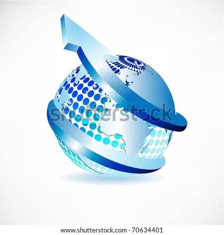 blue globe with arrow vector - stock vector