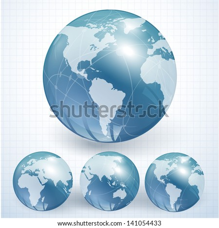 Blue globes. Vector.