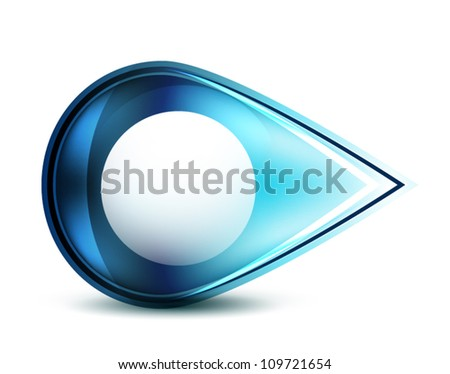 Blue glossy abstract pointer - stock vector