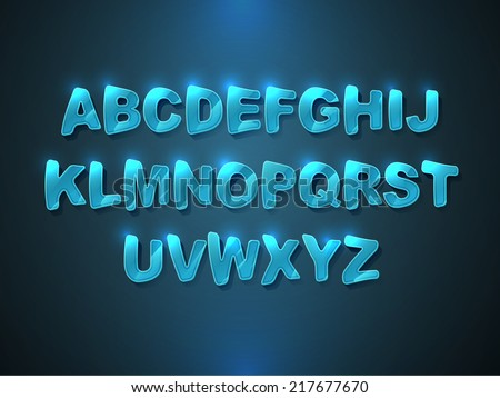 Blue glossy alphabet. Vector Font - stock vector