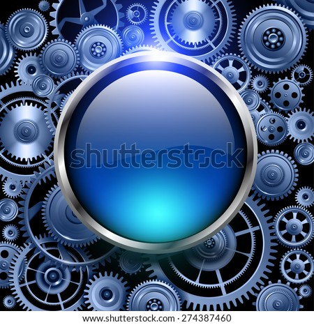 Blue glossy button on gears background, vector illustration. - stock vector