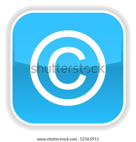 Blue glossy button with copyright symbol on white - stock vector