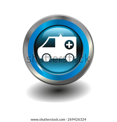 Blue glossy button with metallic elements and white icon ambulance, vector design for website - stock vector
