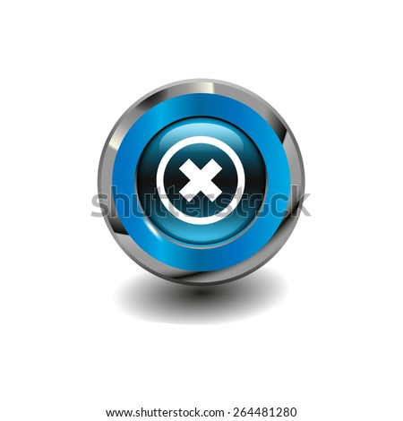 Blue glossy button with metallic elements and white icon delete, vector design for website - stock vector