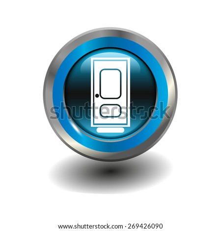 Blue glossy button with metallic elements and white icon door, vector design for website - stock vector