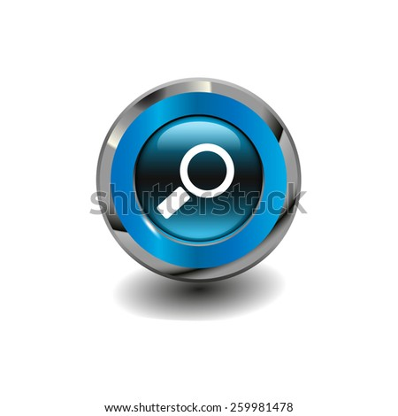 Blue glossy button with metallic elements and white icon magnifier, vector design for website - stock vector