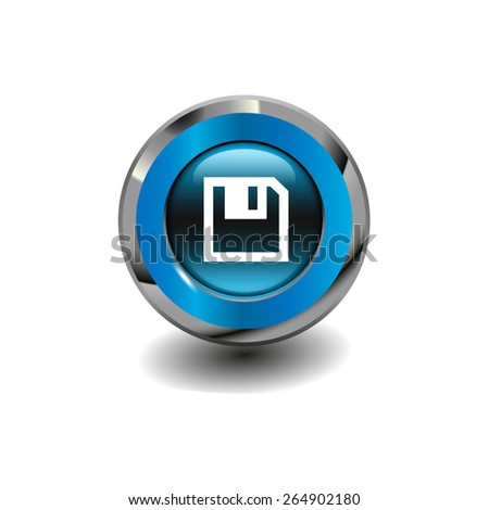 Blue glossy button with metallic elements and white icon save, vector design for website - stock vector