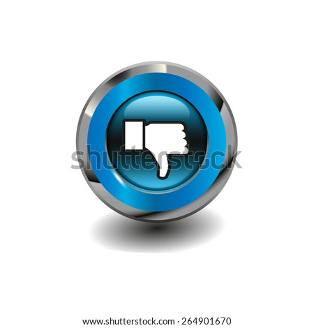 Blue glossy button with metallic elements and white icon thumbs down (dislike), vector design for website  - stock vector