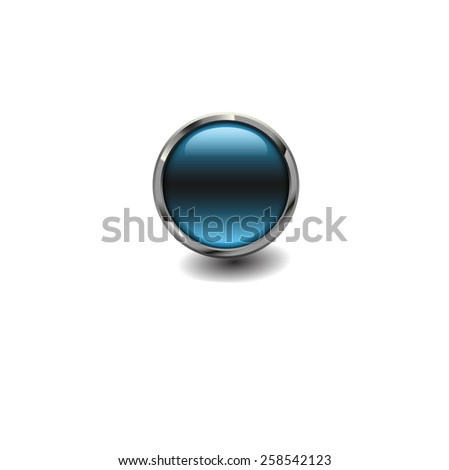 Blue glossy button with metallic elements, vector design for website