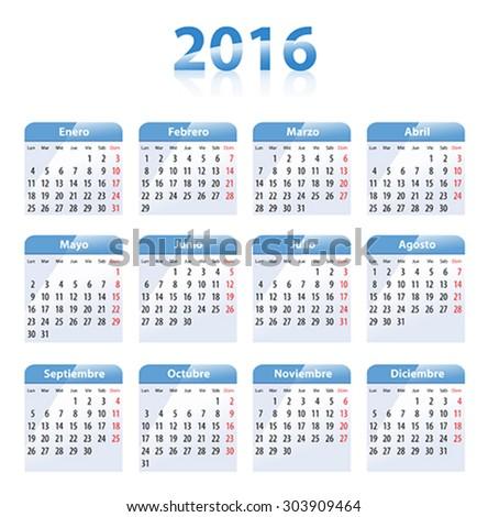 Blue glossy calendar for 2016 in Spanish. Mondays first. Flat design vector illustration - stock vector