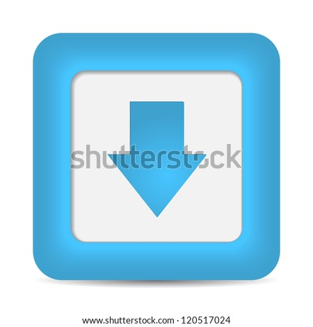 Blue glossy internet button with download arrow sign. Rounded square shape icon on white background. 10 eps - stock vector