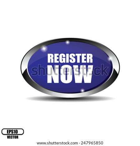 Blue Glossy Metallic Border Style Register Now Icon, Badge, Button, Label or Sticker Isolated on White Background. Vector illustration - stock vector