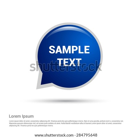 Blue glossy speech bubble for your own design