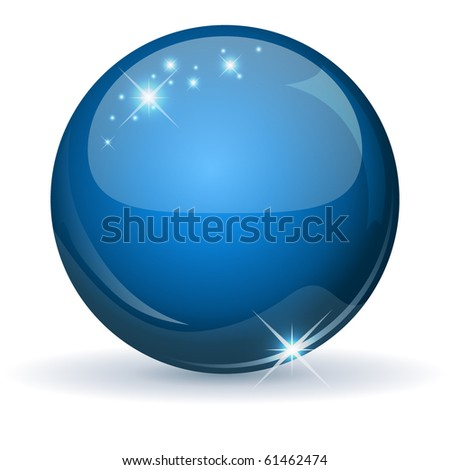 Blue glossy sphere isolated on white. - stock vector
