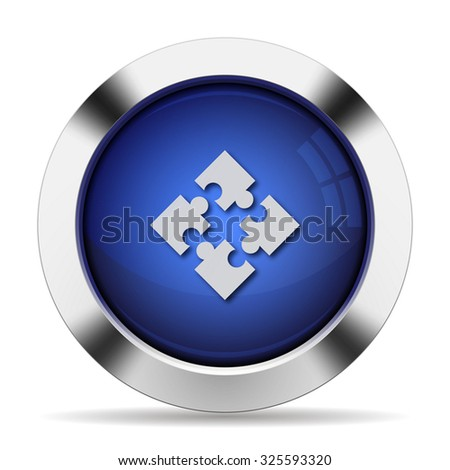 Blue glossy steel modules button - stock vector