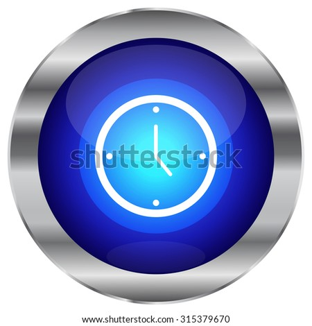 Blue Glossy Time Icon - Vector - stock vector