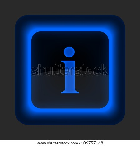Blue glossy web button with information sign. Rounded square shape icon on gray background. 10 eps - stock vector