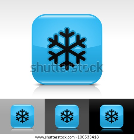 Blue glossy web button with low temperature black snowflake sign. Rounded square shape icon with shadow, reflection on white, gray, black background. - stock vector