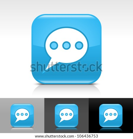 Blue Glossy Web Button White Chat Stock Vector 106436753 Shutterstock