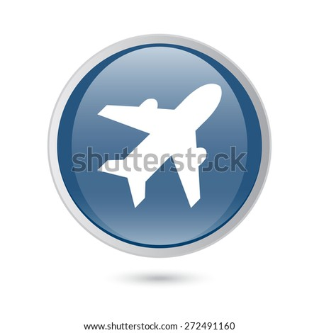 blue glossy web icon. Airplane sign. Plane symbol. Travel icon. Flight flat label. - stock vector