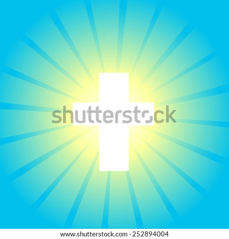 Blue glow with a cross. Vector - stock vector