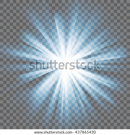 Blue glowing light. Bright shining star. Bursting explosion. Transparent background. Rays of light. Glaring effect with transparency. Abstract glowing light background. Vector illustration. - stock vector