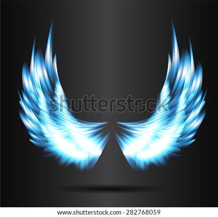 Blue Glowing Stylized Angel Wings On Stock Vector 282768059