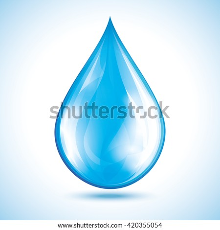 Blue glowing water drop isolated on white background. Nature object, design element for icon. Vector illustration