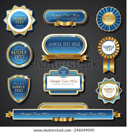 blue golden promo stickers quality seals and ribbons - stock vector