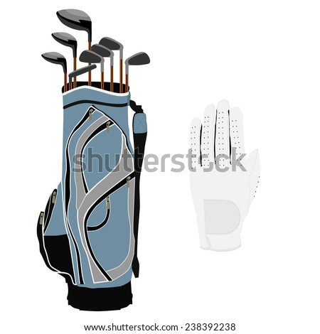 Blue golf clubs bag, sport equipment, white gloves - stock vector